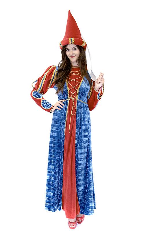 Reneszánsz királylány jelmez piros/kék