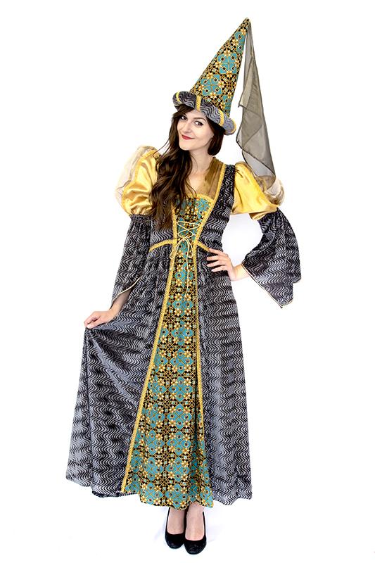 Reneszánsz hercegnő jelmez szürke/arany